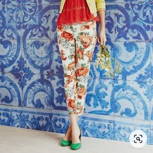 Anthropologie Cartonnier Floral Ankle Chinos EUC